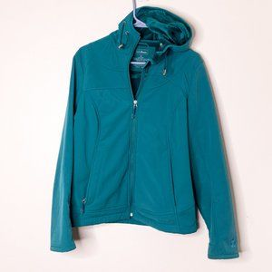[ SOLD ] LL Bean Teal Hooded Soft Shell Zip Jacket